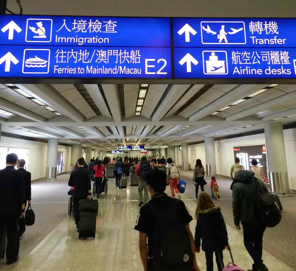 Ankunft Flughafen hong kong