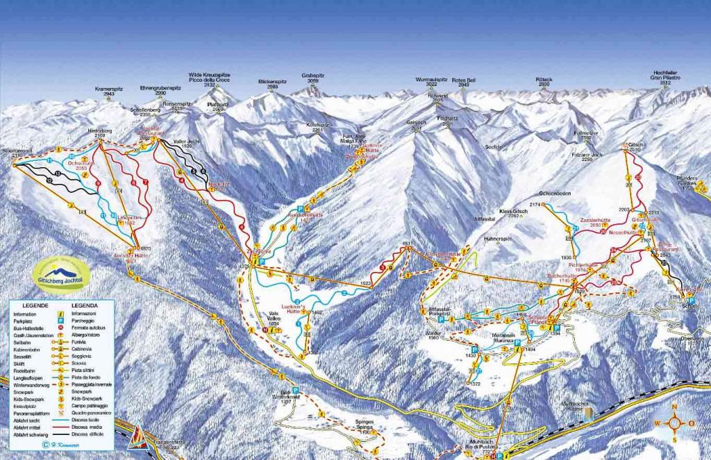 Pistenplan Skiurlaub mit Kind in Gitschberg Jochtal