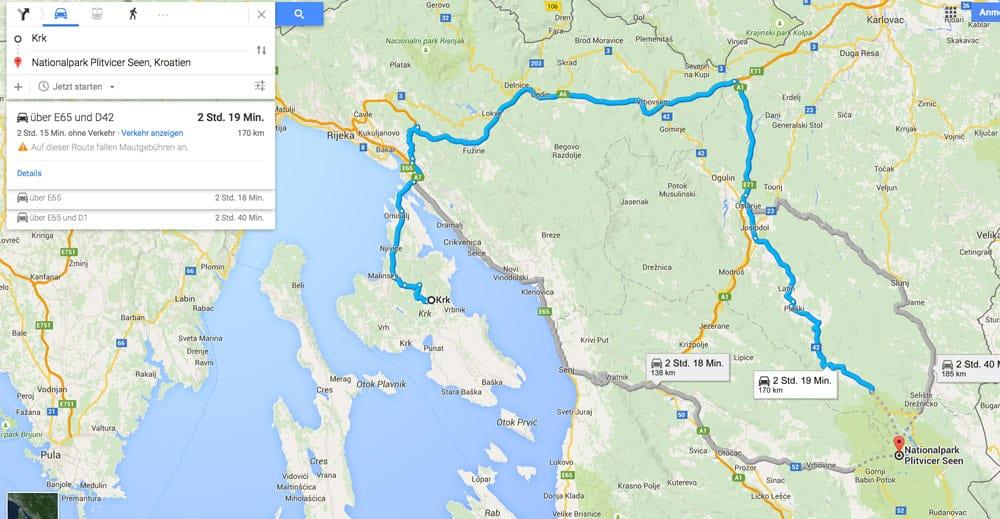 Route_Krk_PlitvicerSeen