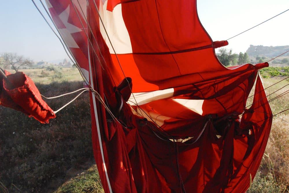 Das Ende einer ballonfahrt in Kappadokien