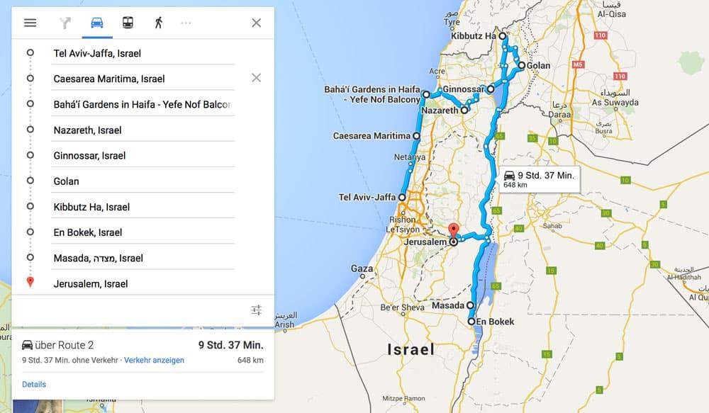 Strecke-Roadtrip-unvergessliche Reise durch Israel