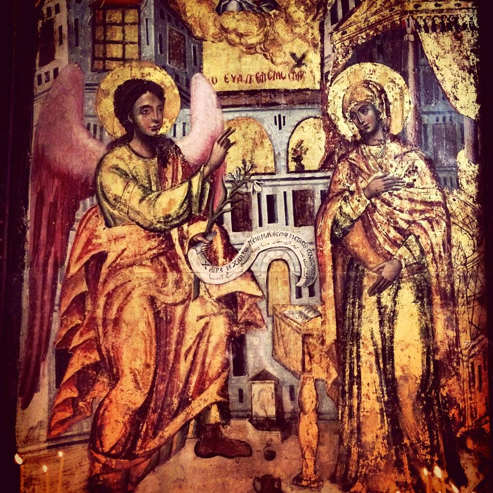 spannende Rundreise durch Israel ©looping-magazin Wandbild in der Gabrielskirche in Nazareth