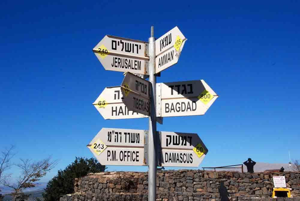 Vom Toten Meer in die Wüste Negev ©looping-magazin Wegweiser auf dem Golan