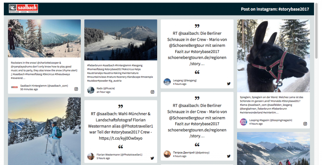 STORY BASE 2017 in Saalbach Hinterglemm social wall