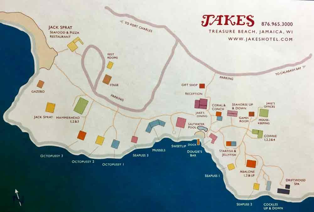 Lageplan der einzelnen Haeuser in Jakes Hotel Jamaika