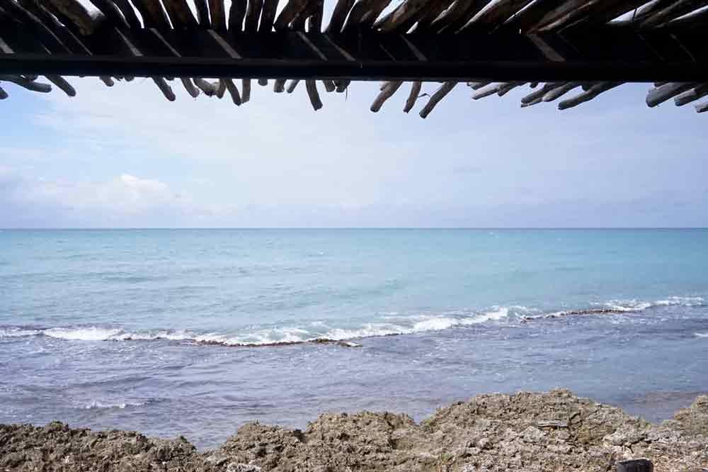 Ausblick auf das Meer aus meinem Haus in Jakes Hotel Treasure Beach Jamaika