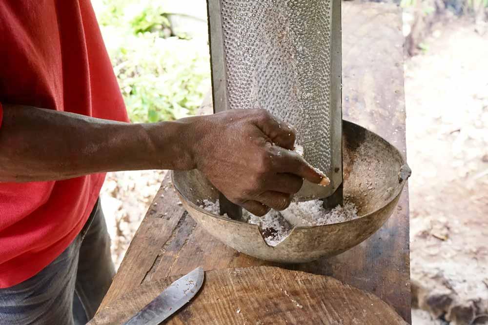 Kokosnuss raspeln Kochen auf Jamaika