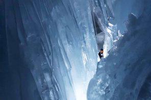 Gefangen im ewigen Eis. Gletscherspalte am Tuxer Gletscher