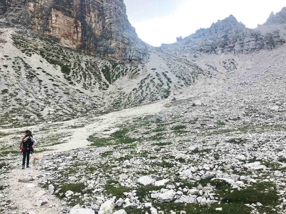 steiniger Aufstieg zur Forces de Sieles Scharte dolomiten
