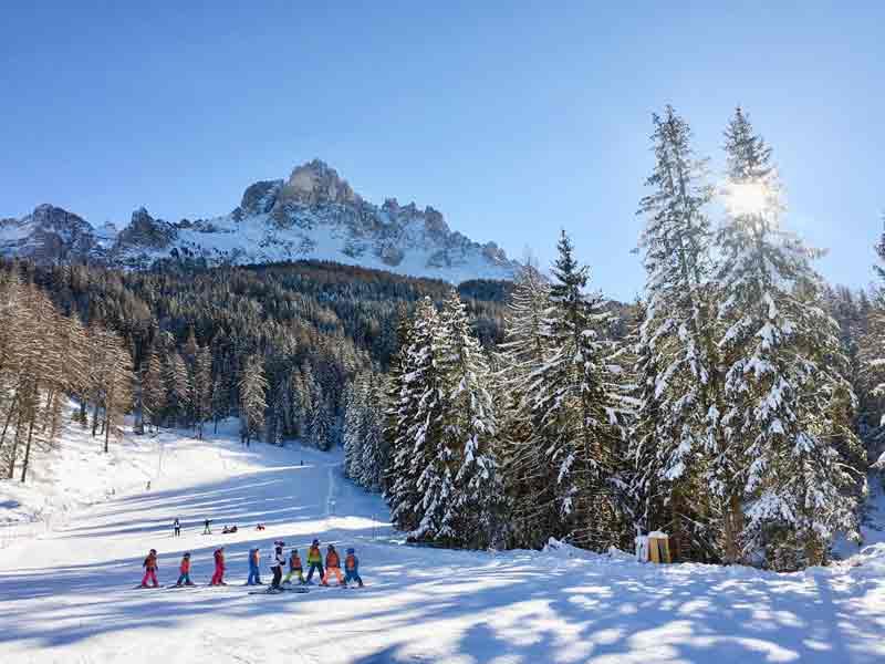 Übungspiste Skigebiet Obereggen in Südtirol