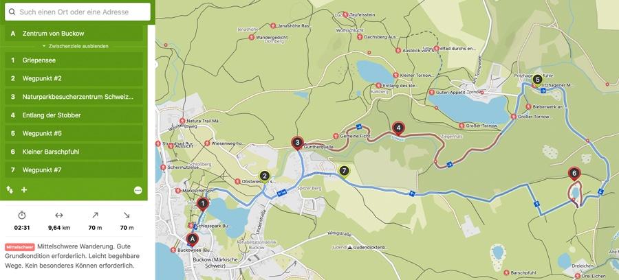 Kalorienpromenade Runderwanderweg Buckow Märkische Schweiz