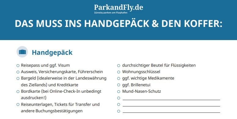 Tipps für Langstreckenflüge Checkliste Handgepäck